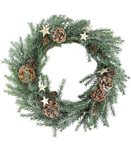 """Northlight 13.5"""" Classic Pine with Pine Cones and Stars Christmas Wreath - Unlit"""
