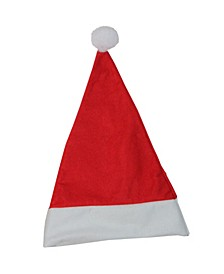 "17.5"" Traditional Red and White Christmas Santa Claus Hat Accessory with White Pouf"