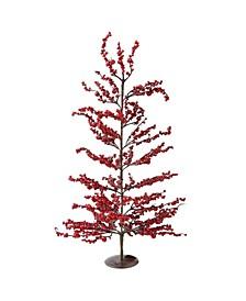 "30"" Festive Artificial Red Berries Decorative Christmas Tree - Unlit"