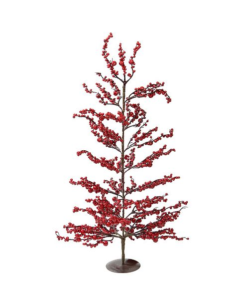 """Northlight 30"""" Festive Artificial Red Berries Decorative Christmas Tree - Unlit"""
