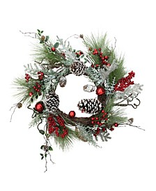 "24"" Frosted Bells Berries and Pine Cones Artificial Christmas Wreath"