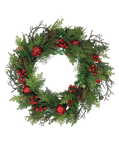 "Northlight 24"" Rustic Red Jingle Bell Berry and Pine Cone Artificial Christmas Wreath"