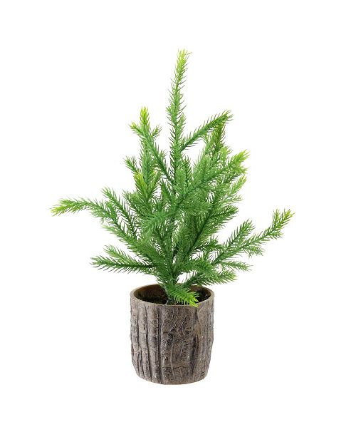 "Northlight 12"" Artificial Pine Christmas Tree In Faux Wooden Pot"
