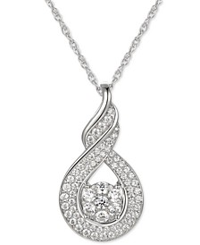 "Cubic Zirconia Twist 18"" Pendant Necklace in Sterling Silver"