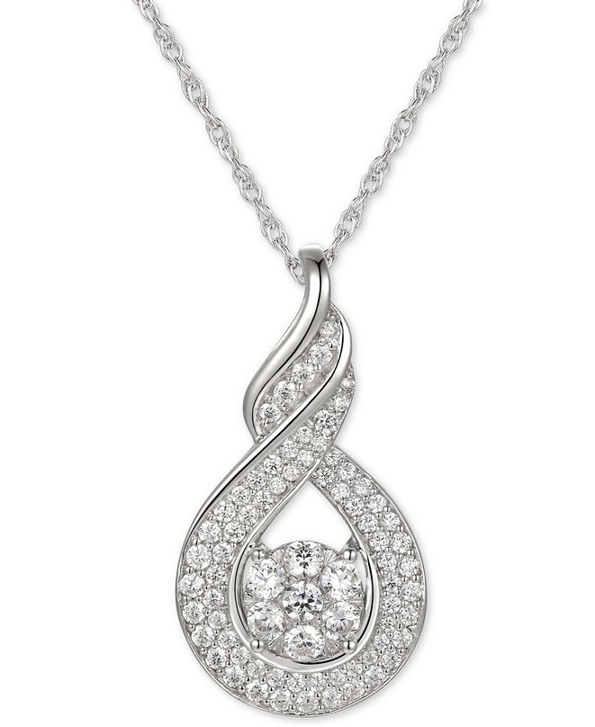 "Macy's Cubic Zirconia Twist 18"" Pendant Necklace in Sterling Silver"