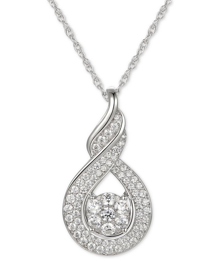 "Macy's - Cubic Zirconia Twist 18"" Pendant Necklace in Sterling Silver"