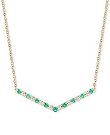 "Emerald (1/2 ct. t.w.) & Diamond (1/20 ct. t.w.) Chevron 16"" Statement Necklace in 14k Gold-Plated Sterling Silver"