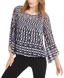 Petite Printed Angel-Sleeve Top, Created for Macy's