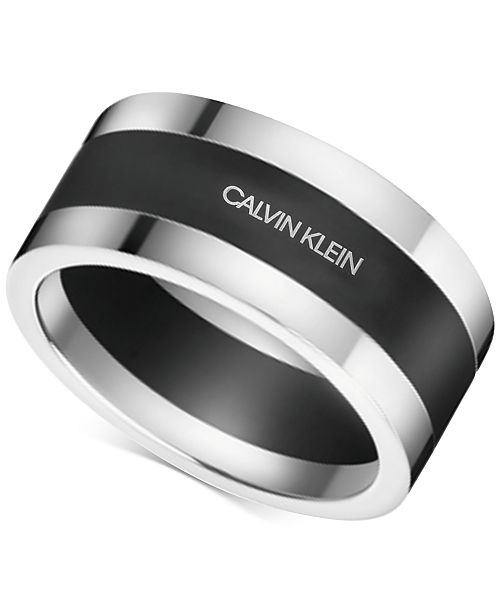 Calvin Klein Men's Strong Stainless Steel and Black PVD Bi-Color Ring