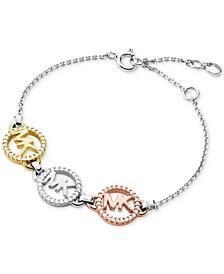 Tri-Tone Sterling Silver Pavé Logo Charm Bracelet