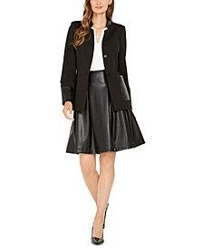 Faux-Leather-Trim Blazer, Toggle-Chain Top & Faux-Leather Skirt