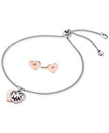 Two-Tone Sterling Silver Pavé Logo Heart Charm Slider Bracelet & Stud Earrings Set