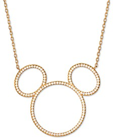 "Cubic Zirconia Mickey Mouse Outline Pendant Necklace in 18k Gold-Plated Sterling Silver, 16"" + 2"" extender"