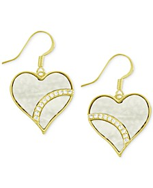 Crystal & Simulated Shell Heart Drop Earrings