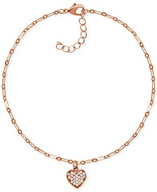 Crystal Heart Anklet in Rose Gold-Plate