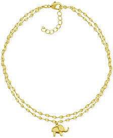 Two-Row Mirror Chain Elephant Anklet in Gold-Plate