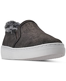 Women's Goldie Faux-Fur Slip-On Casual Sneakers from Finish Line
