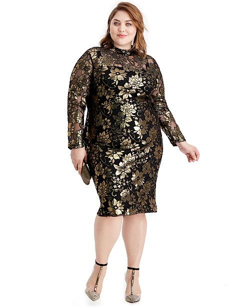 RACHEL Rachel Roy Plus Size Metallic Mock-Neck Dress