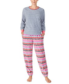 Printed Fleece Shirt & Jogger Pants Pajamas Set