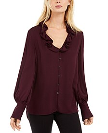 Azra Silk Ruffled Blouse