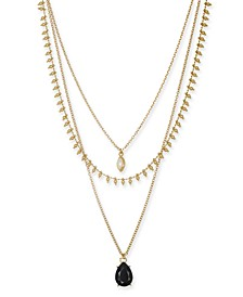 "INC Gold-Tone Stone & Imitation Pearl Layered Pendant Necklace, 16"" + 3"" extender, Created For Macy's"