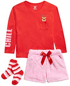 Big Girls 3-Pc. Reindeer Top, Faux-Fur Shorts & Socks Pajama Set