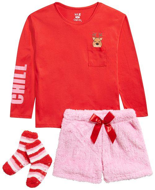 Max & Olivia Big Girls 3-Pc. Reindeer Top, Faux-Fur Shorts & Socks Pajama Set