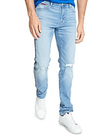 Men's Slim-Fit Light Stone Logo Tape Jeans