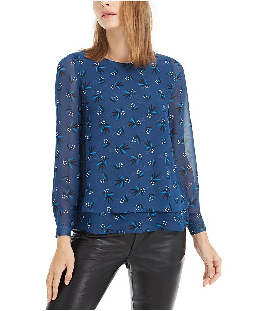 Anne Klein Printed Double-Layer Top