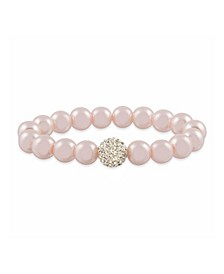 Pink Imitation Pearl with a Crystal Stretchy Bracelet