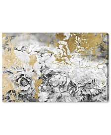 "Silver and Gold Camellias Canvas Art - 24"" x 36"" x 1.5"""
