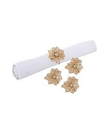 Poinsettia Lace Napkin Ring, Set of 4