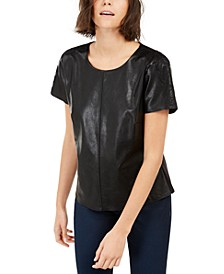 INC Faux-Leather T-Shirt, Created For Macy's
