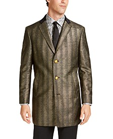 Men's Slim-Fit Black & Gold Herringbone Overcoat with Velvet Trim
