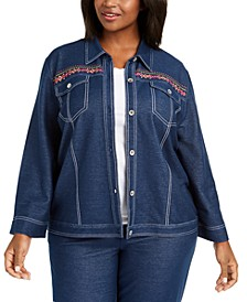 Plus Size Road Trip Embroidered Denim Jacket