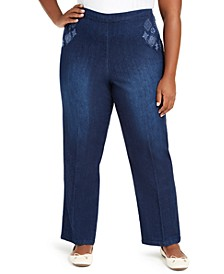 Plus Size Autumn Harvest Proportioned Embroidered Denim Pants