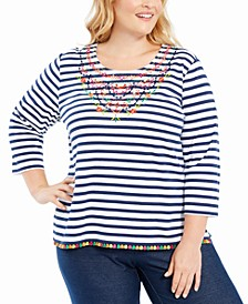 Plus Size Road Trip Embroidered Striped Top