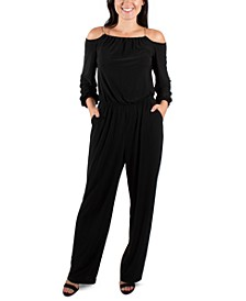 Off-The-Shoulder Chain-Neck Jumpsuit