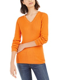 Tommy Hilfiger Ivy Cotton Cable Sweater, Created For Macy's