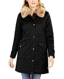 Hooded Faux-Fur-Trim Quilted Coat