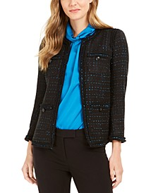 Metallic Ruffle-Trim Blazer