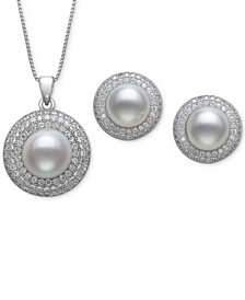 2-Pc. Set Cultured Freshwater Pearl (8 & 10mm) & Cubic Zirconia Pendant Necklace & Matching Stud Earrings in Sterling Silver