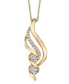 Diamond (3/8 ct. t.w.) Swirl Pendant in 14k Yellow Gold