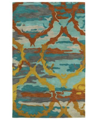 Brushstrokes BRS02-91 Teal 5' x 7'9