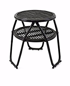 Rattan Table with Bottom Shelf