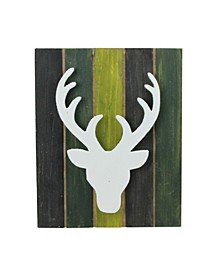 """13"""" Wood Deer on Green Washed Pallet Inspired Frame Christmas Wall Hanging"""