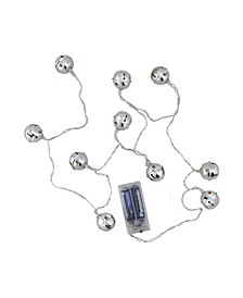 Set of 10 Battery Operated LED Silver Jingle Bell Novelty Christmas Lights - Clear Lights
