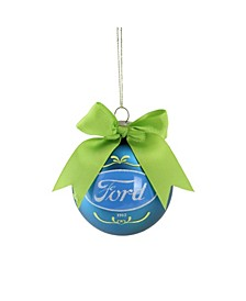 "2.75"" Blue and Green ""Ford"" Logo Glass Ball Christmas Ornament"