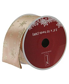 """Sparkling Gold Stars Wired Christmas Craft Ribbon 2.5"""" x 10 Yards"""