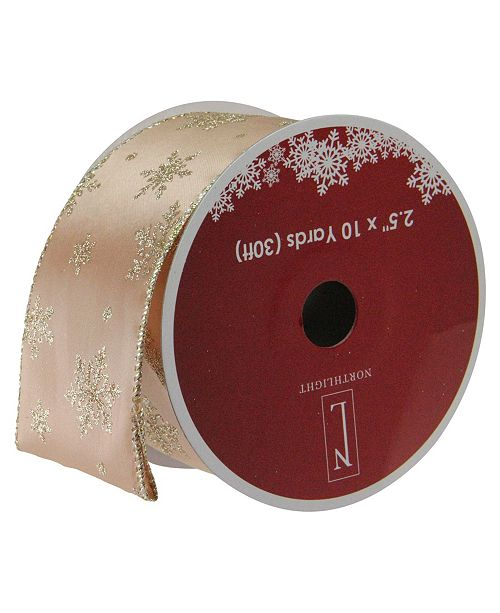 """Northlight Sparkling Gold Stars Wired Christmas Craft Ribbon 2.5"""" x 10 Yards"""